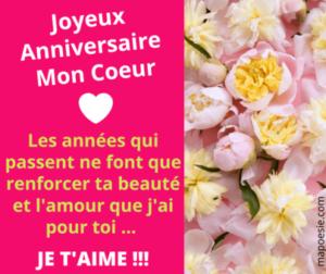 Jolie carte d'amour Joyeux Anniversaire je t'aime - Image bon anniversaire romantique